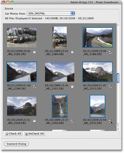Selecting images to import from the Photo Downloader in Adobe Bridge CS4.