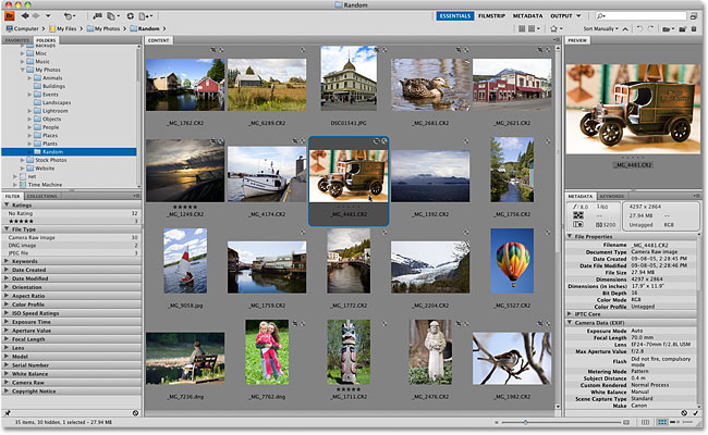 The Adobe Bridge CS4 interface. Image © 2010 Photoshop Essentials.com.