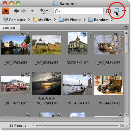 The Compact Mode version of Adobe Bridge CS4. Image © 2010 Photoshop Essentials.com.