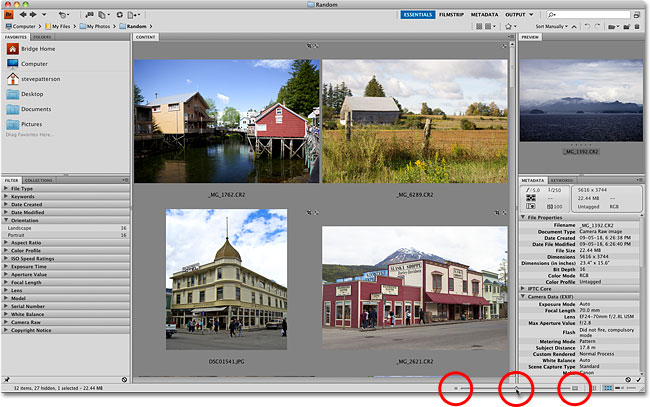 The Contents panel in Adobe Bridge CS4 Preferences. Image © 2010 Photoshop Essentials.com.