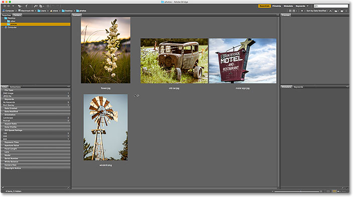 The Content panel after increasing the size of the thumbnails. Image © 2016 Steve Patterson, Photoshop Essentials.com