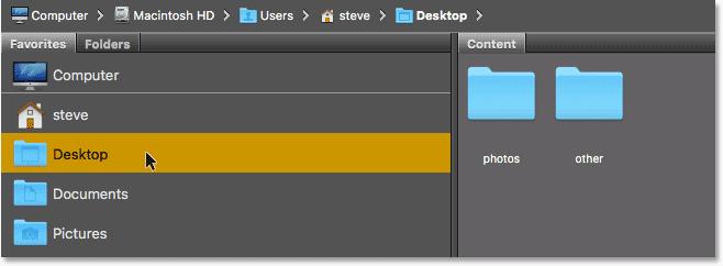 The Favorites panel in Adobe Bridge. Image © 2016 Steve Patterson, Photoshop Essentials.com