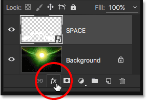 Clicking the Layer Effects icon in the Layers panel.