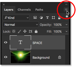 Clicking the menu icon in the Layers panel.