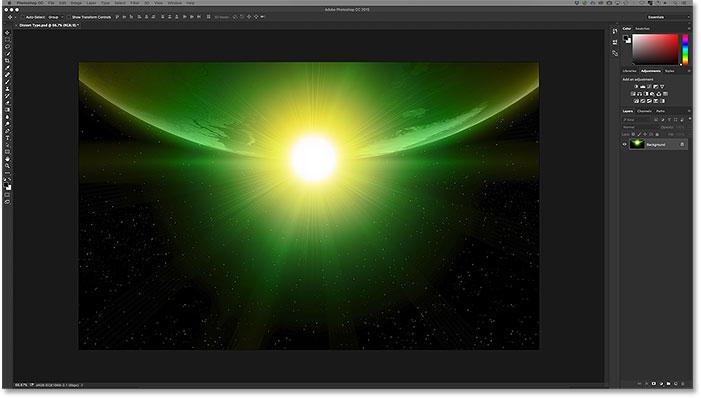 An image open in Photoshop CC. Image © 2016 Steve Patterson, Photoshop Essentials.com