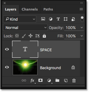 The Layers panel showing the new Type layer.