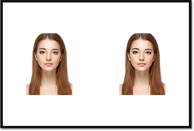 The document showing both images with their width and height upscaled from 10 percent to 50 percent.