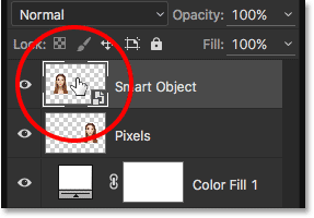 Double-clicking on the Smart Object thumbnail. Image © 2016 Steve Patterson, Photoshop Essentials.com