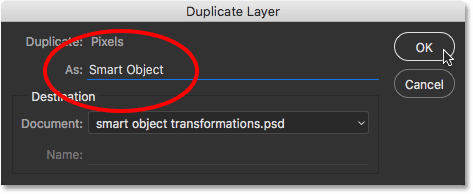 The Duplicate Layer dialog box in Photoshop CC. Image © 2016 Steve Patterson, Photoshop Essentials.com