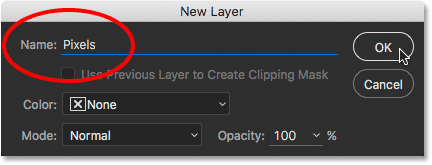 The New Layer dialog box in Photoshop CC. Image © 2016 Steve Patterson, Photoshop Essentials.com