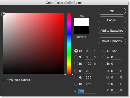 The Color Picker in Photoshop CC. Image © 2016 Steve Patterson, Photoshop Essentials.com