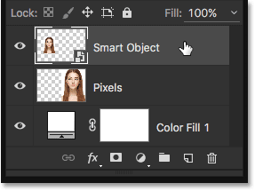 Selecting the Smart Object in the Layers panel. Image © 2016 Steve Patterson, Photoshop Essentials.com