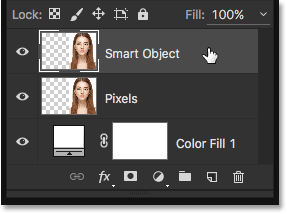 Selecting the Smart Object layer in the Layers panel. Image © 2016 Steve Patterson, Photoshop Essentials.com