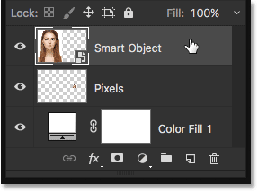 Selecting the Smart Object. Image © 2016 Steve Patterson, Photoshop Essentials.com