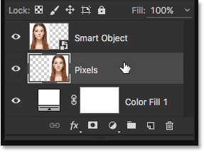 Selecting the pixel-based layer in the Layers panel. Image © 2016 Steve Patterson, Photoshop Essentials.com