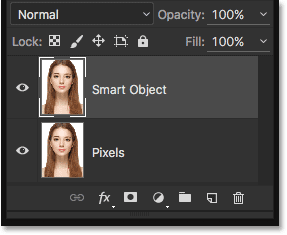 The Layers panel in Photoshop showing both layers. Image © 2016 Steve Patterson, Photoshop Essentials.com