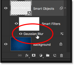 Double-clicking again on the Gaussian Blur Smart Filter.