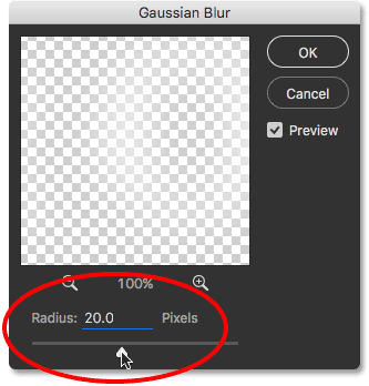 Increasing the Radius value in the Gaussian Blur dialog box.