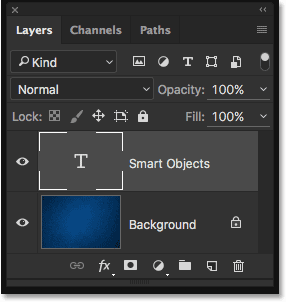 The Layers panel showing the Type layer separate from the Background layer.