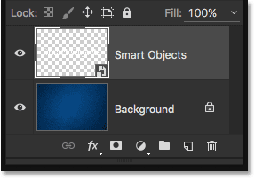 The Layers panel after deleting the Smart Filter. Image © 2016 Steve Patterson, Photoshop Essentials.com