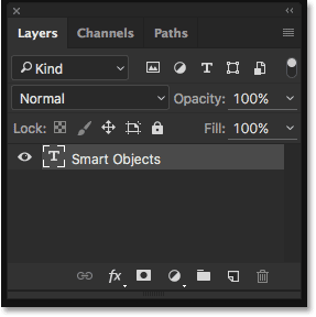 The Layers panel showing the text on a Type layer.