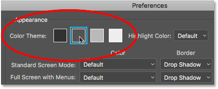 The Color Theme option in the Photoshop CC Preferences.