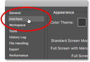 Opening the Interface preferences in Photoshop.