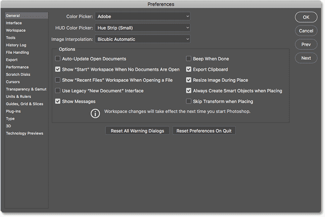 The General options in the Preferences dialog box in Photoshop CC.