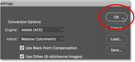 Closing the Color Settings dialog box in Photoshop.