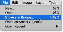 Opening Adobe Bridge from Photoshop.