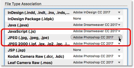 The JPEG settings in the File Type Associations in Adobe Bridge.