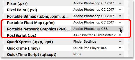 Bridge is set to open PNG files in Photoshop CS6.