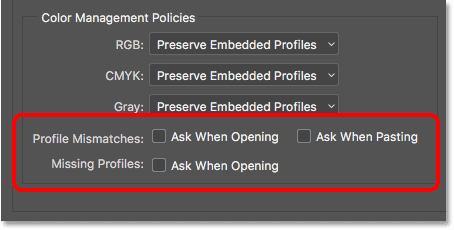 The Profile Mismatches and Missing Profiles section of the Color Management Policies