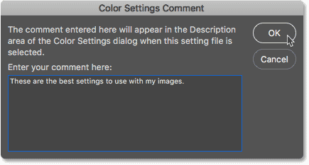 The Color Settings Comment dialog box.