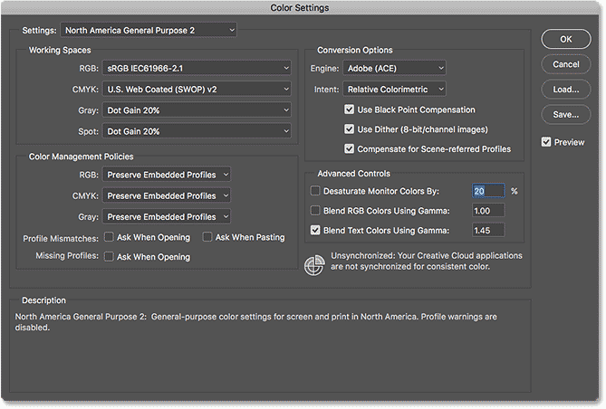 The Color Settings dialog box in Photoshop CC.