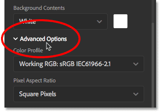 Opening the Advanced Options in the New Document dialog box. Image © 2016 Steve Patterson, Photoshop Essentials.com