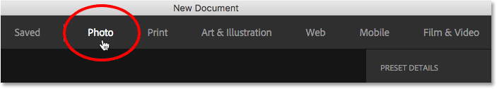 Choosing Photo from the document categories in the New Document dialog box.