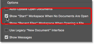 Turning the Start workspace back on in the General Preferences. Image © 2016 Steve Patterson, Photoshop Essentials.com