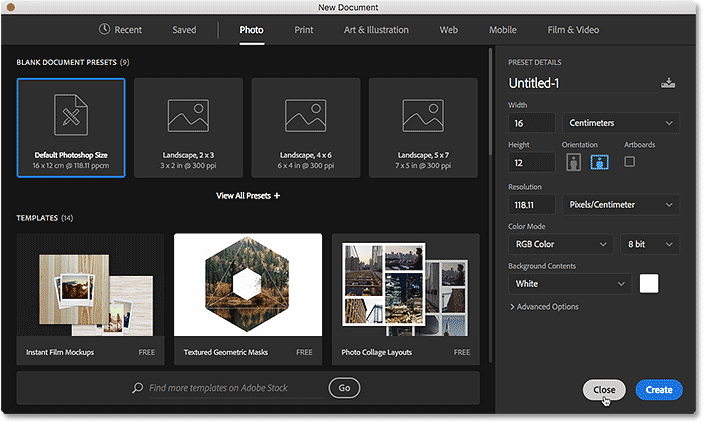 The redesigned New Document dialog box in Photoshop CC 2017. Image © 2016 Steve Patterson, Photoshop Essentials.com
