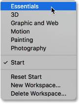 Switching from Start to the Essentials workspace. Image © 2016 Steve Patterson, Photoshop Essentials.com