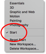 The Start workspace is currently selected. Image © 2016 Steve Patterson, Photoshop Essentials.com