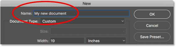 Naming the new Photoshop document.