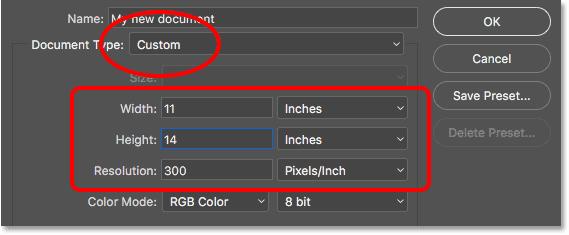Entering custom values for the new document.