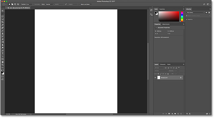 The new document opens in Photoshop.