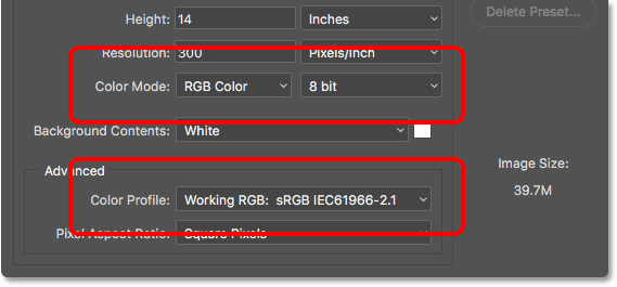 The Color Mode, Bit Depth and Color Profile options in the legacy New Document dialog box. Image © 2016 Steve Patterson, Photoshop Essentials.com