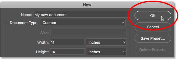 Click OK to create your new custom Photoshop document.