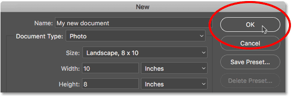 Clicking the OK button in the New Document dialog box.