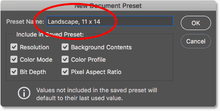Naming the preset in the New Document Preset dialog box. Image © 2016 Steve Patterson, Photoshop Essentials.com