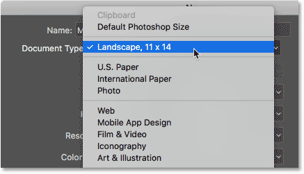 The saved preset now appears as a Document Type option. Image © 2016 Steve Patterson, Photoshop Essentials.com