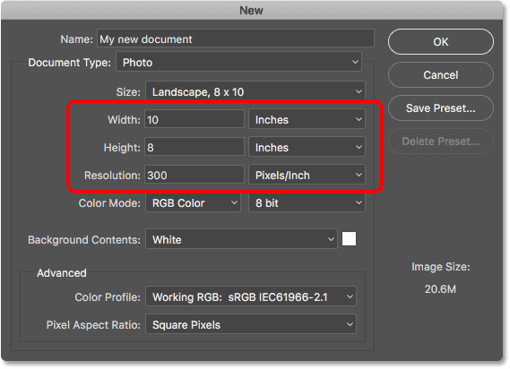 The document settings update to the preset values. Image © 2016 Steve Patterson, Photoshop Essentials.com